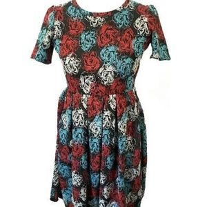 Lularoe Amelia Dress XL Grey Floral Rose Jacquard